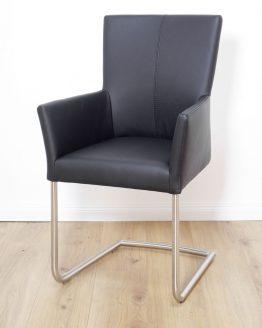 Freischwinger Armlehnstuhl schwarz